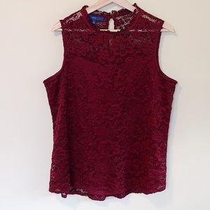 Apt 9 High Neck Lace sleeveless blouse